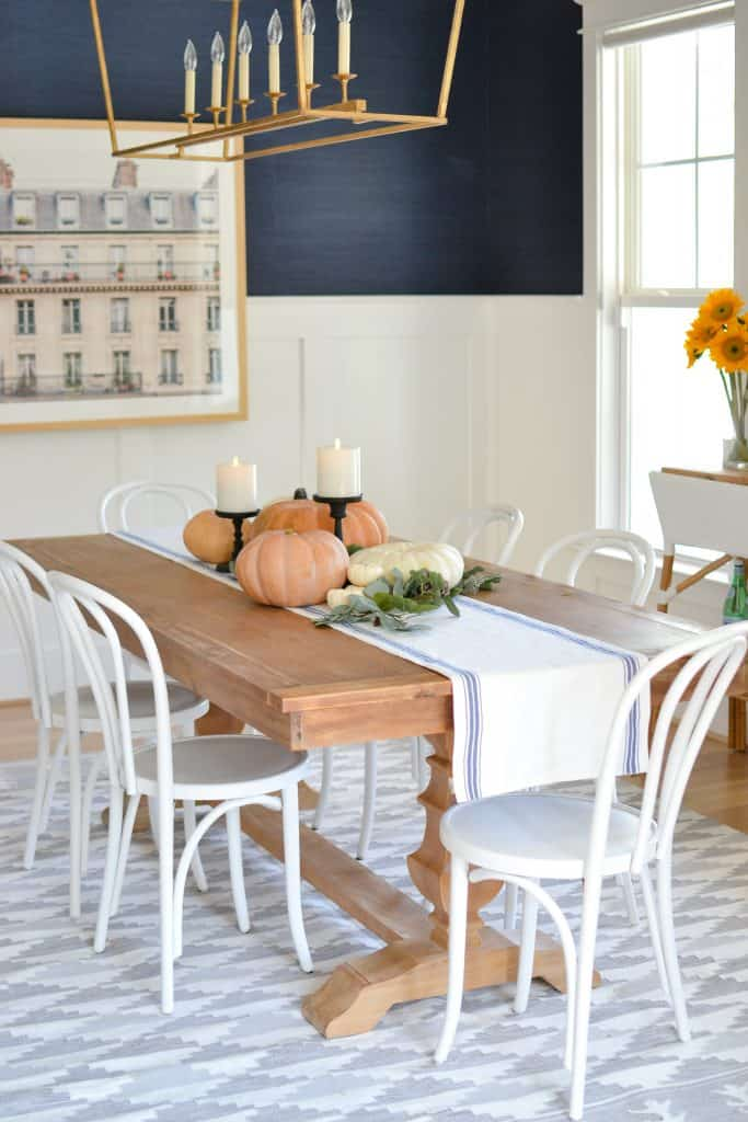 dining room with pumpkins