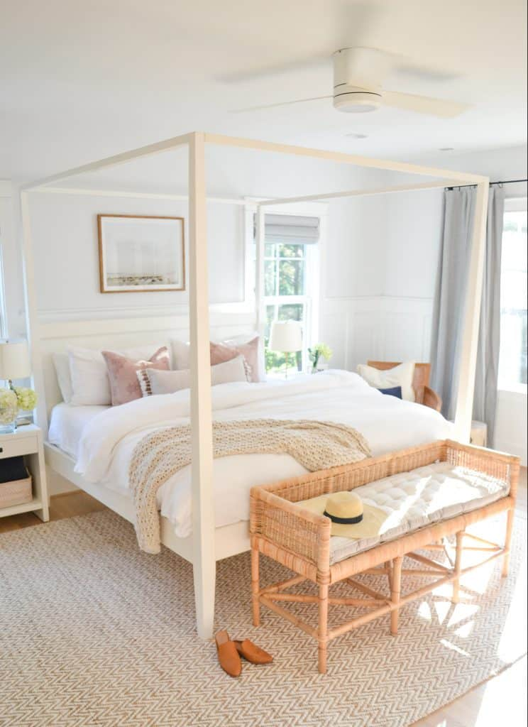 bedroom with a white canopy bed