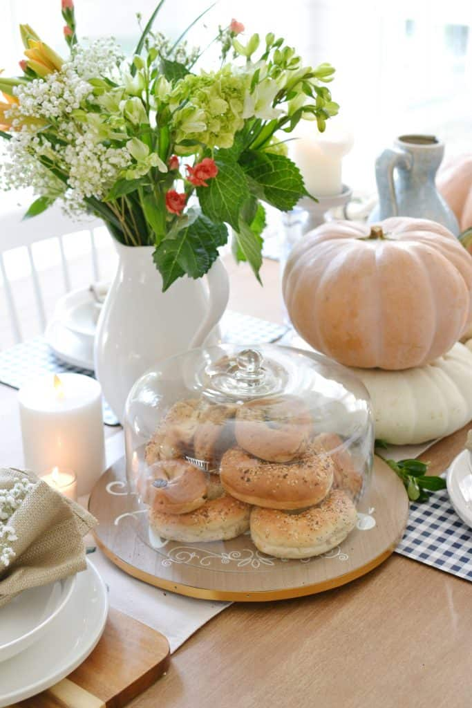 a lazy susan decorated for fall