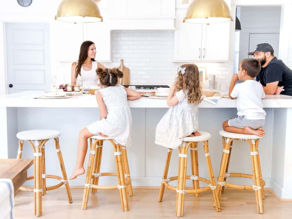 kids sitting on kid friendly counter stools