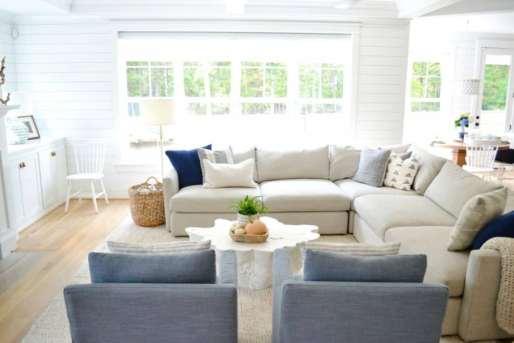 living room with navy fall home decor