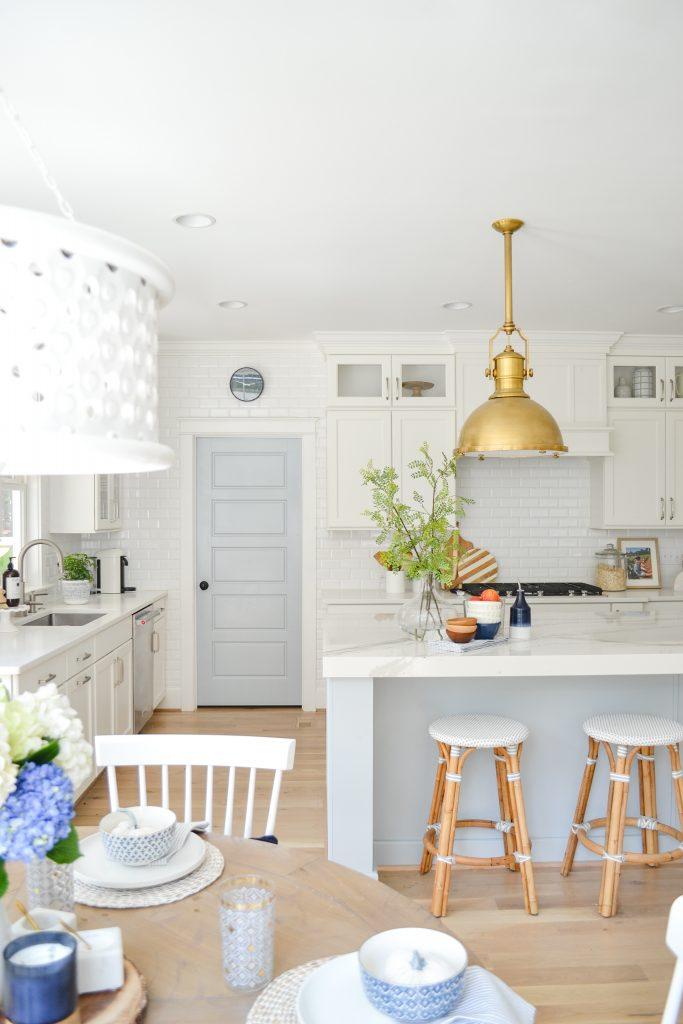 kitchen with navy fall home decor
