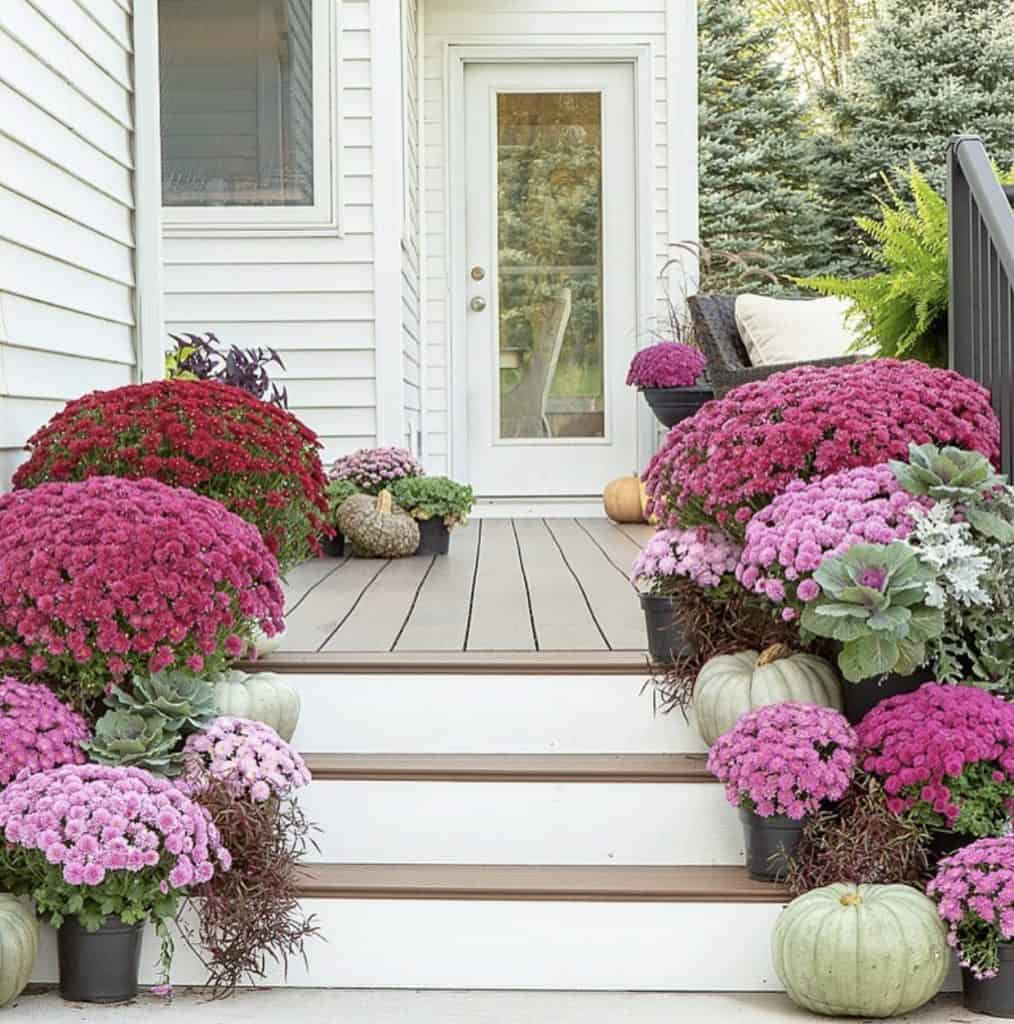 mums on fall porch decor on instagram