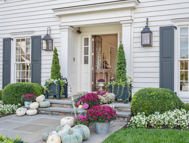 beautiful front porch on instagram with green pumpkins
