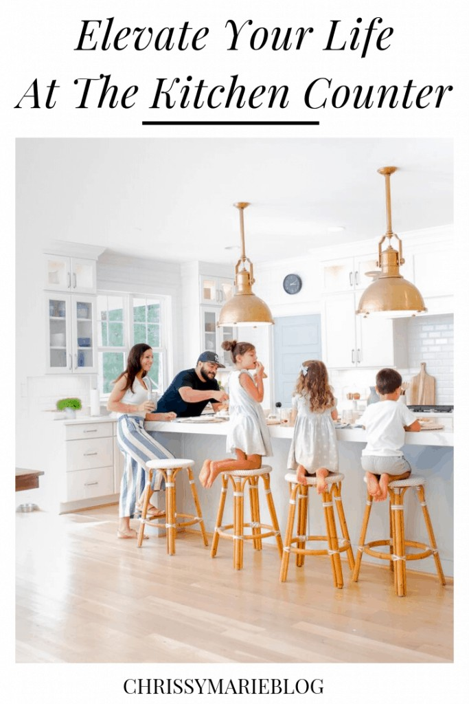 Pinterest Image with Kid Friendly Counter Stools