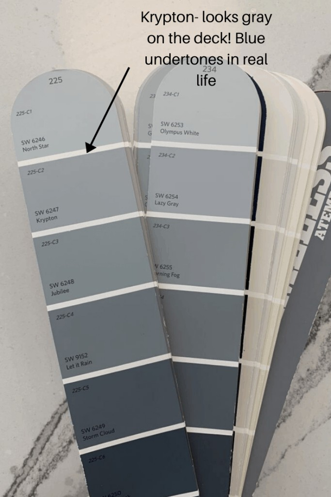blue paint deck showing Sherwin Williams krytpon next to other blue paints