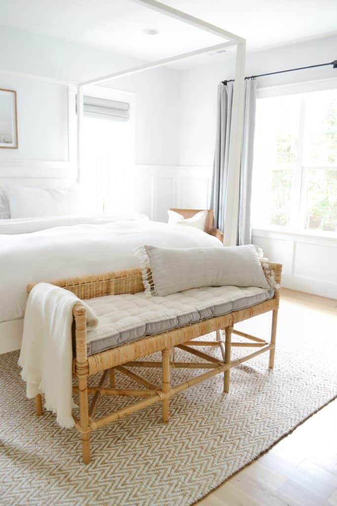 bedroom with the shore bench with a throw pillow on it from Serena and lily