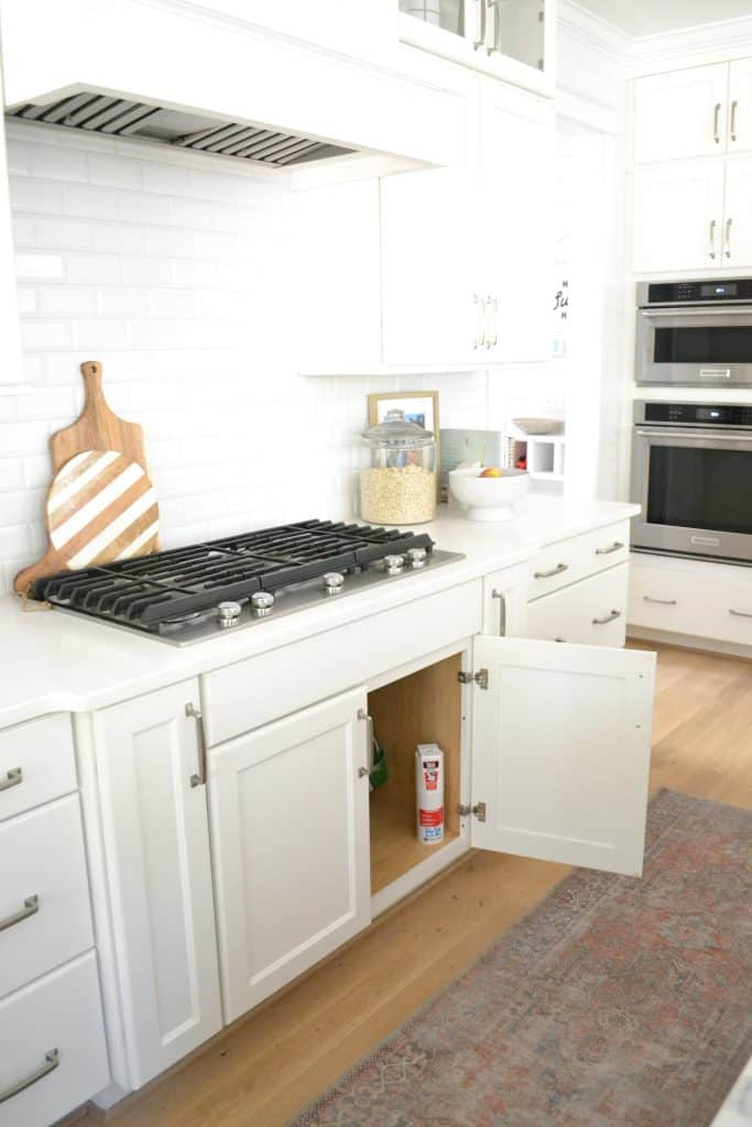 kitchen with fire extinguisher under the stove