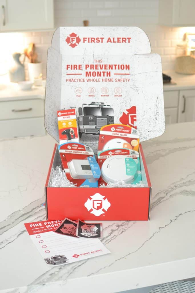fire safety equipment on the counter