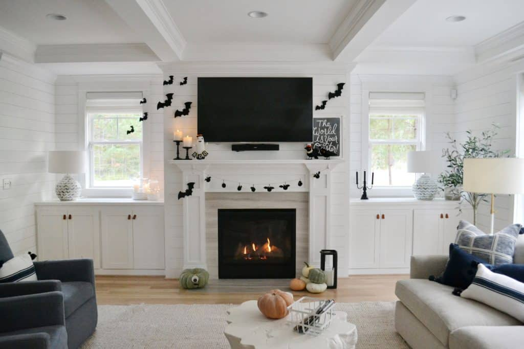 living room decorated with black and white