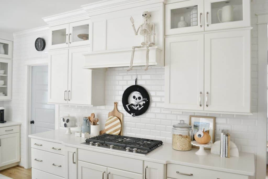 kitchen with halloween decorations