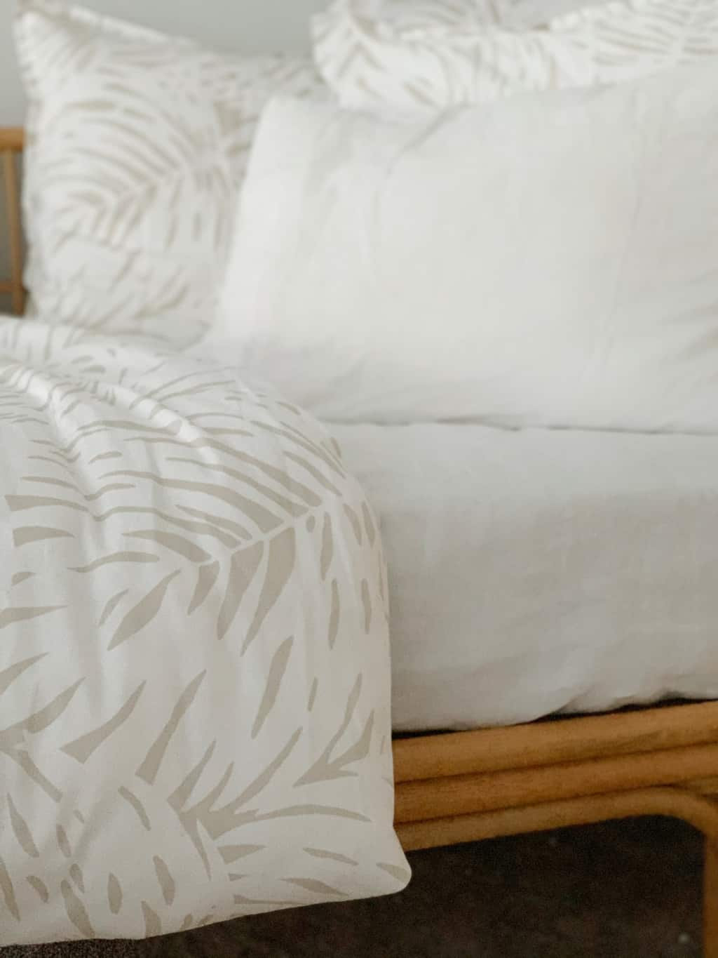 close up of bedding on twin bed