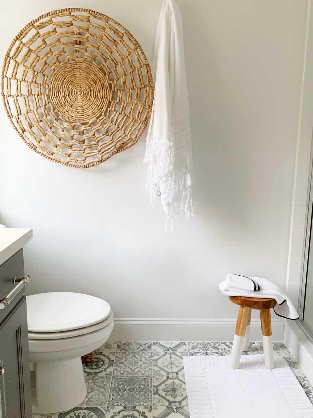 small bathroom gray and rattan