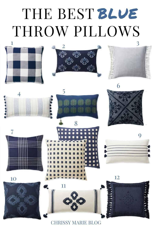 Pinterest image of navy throw pillows