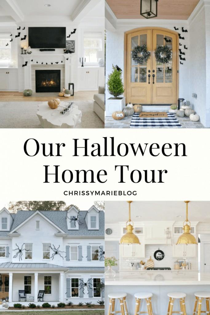 Pinterest image that says Halloween Home Tour Halloween Home Design Ideas