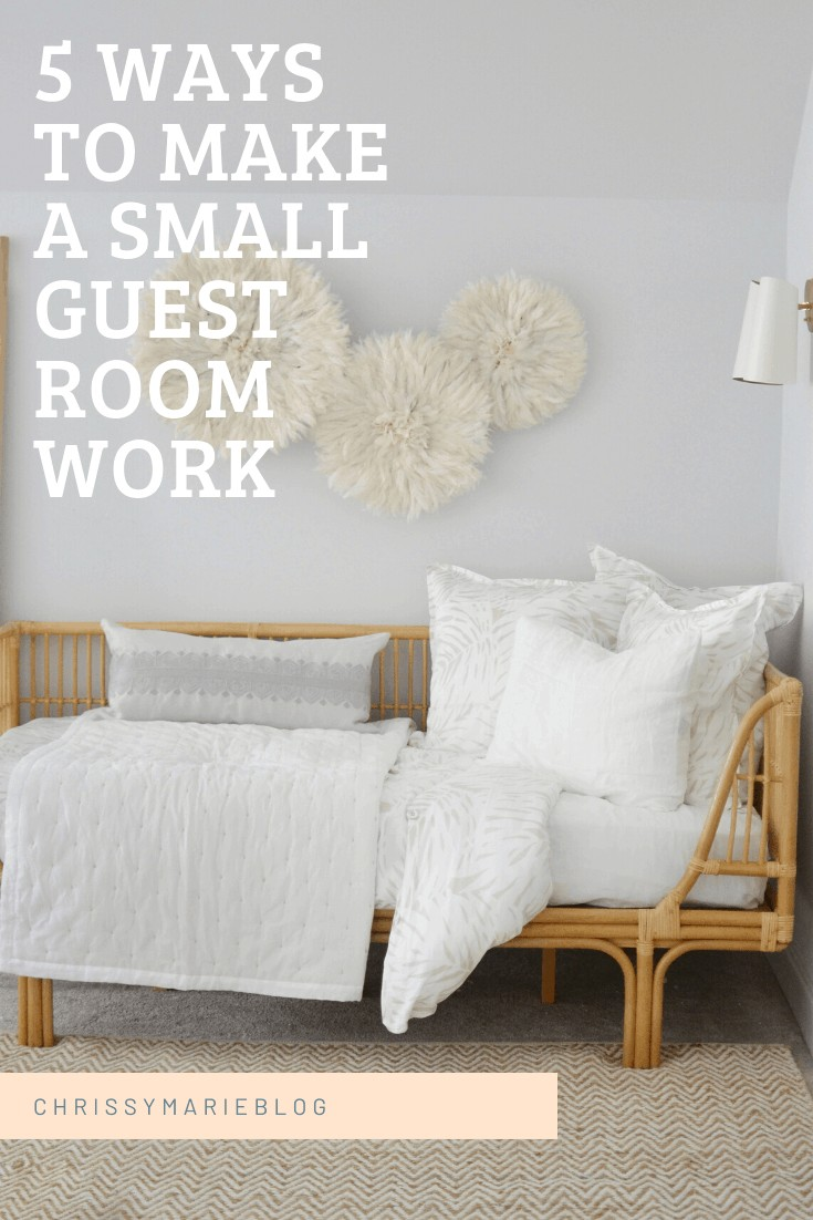 Pinterest image that states twin bed in a guest room