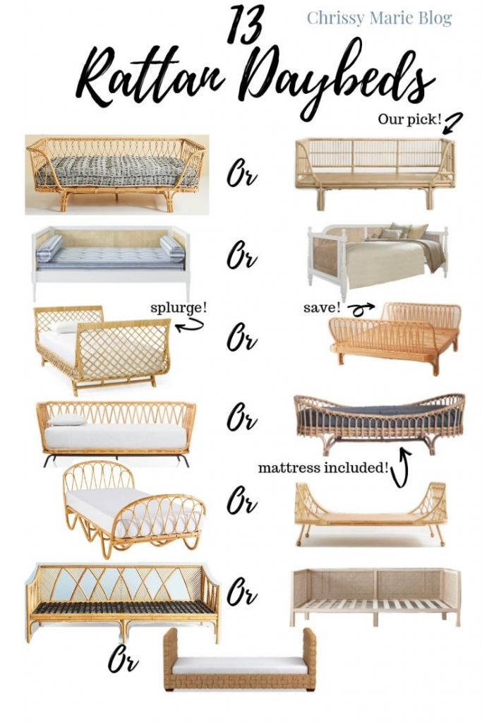 pinterest collage of 13 rattan daybeds