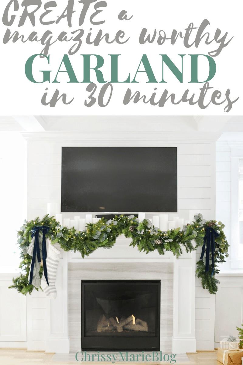Pinterest image for making a diy Christmas Garland