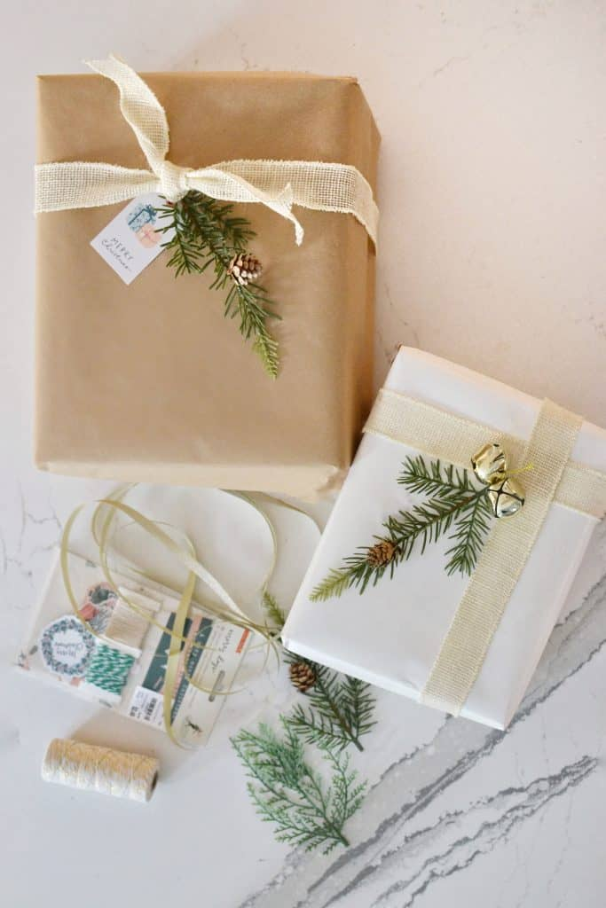 2 wrapped presents with Tuesday Morning gift ideas