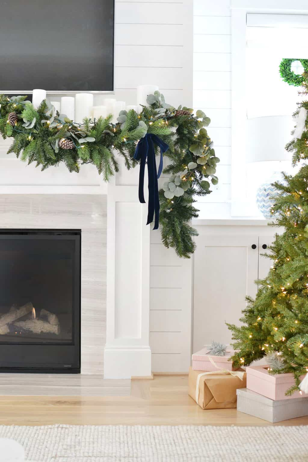 mantel with Christmas Garland