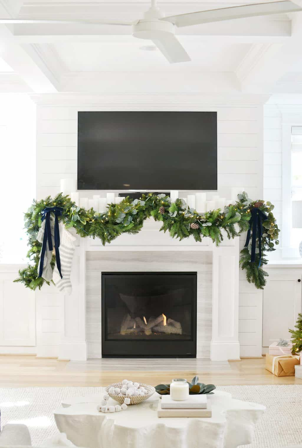 Christmas Garland in front of fireplace
