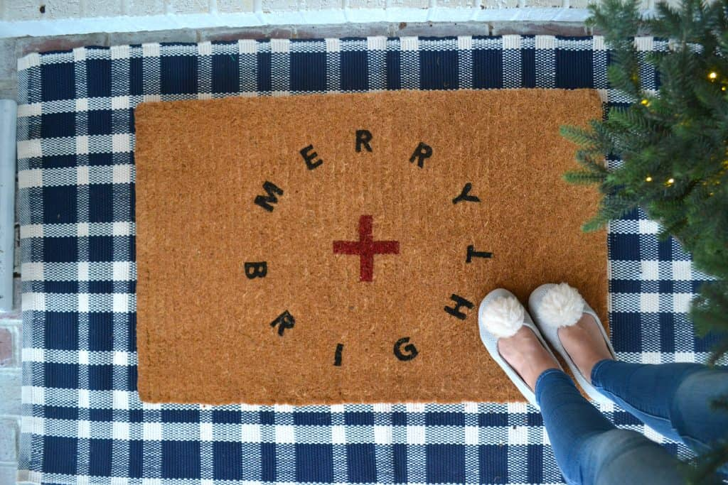 a christmas doormat front porch Christmas decorations