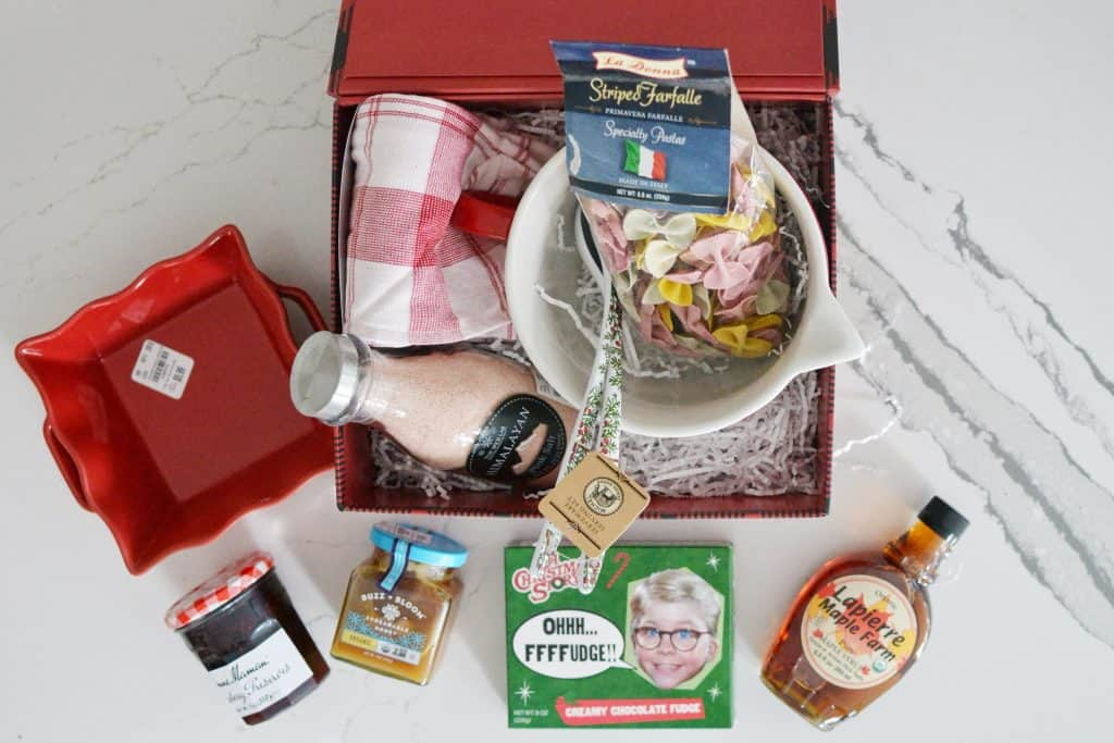 gift basket with baking needs inside like jelly and syrup, a Tuesday Morning present