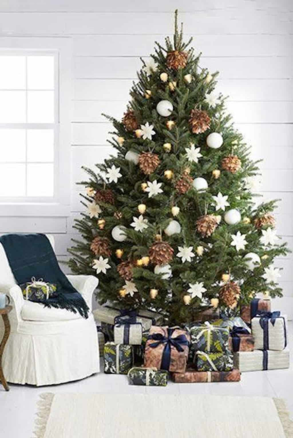 white gold real christmas tree