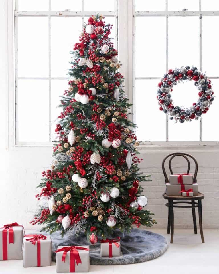 red and white real christmas tree