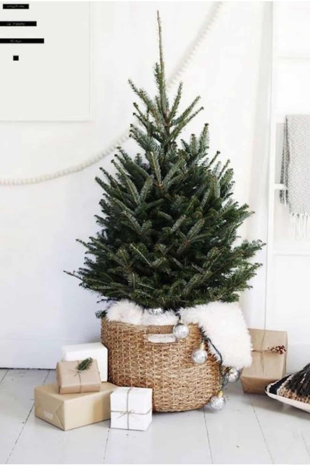 minimal christmas tree in a basket