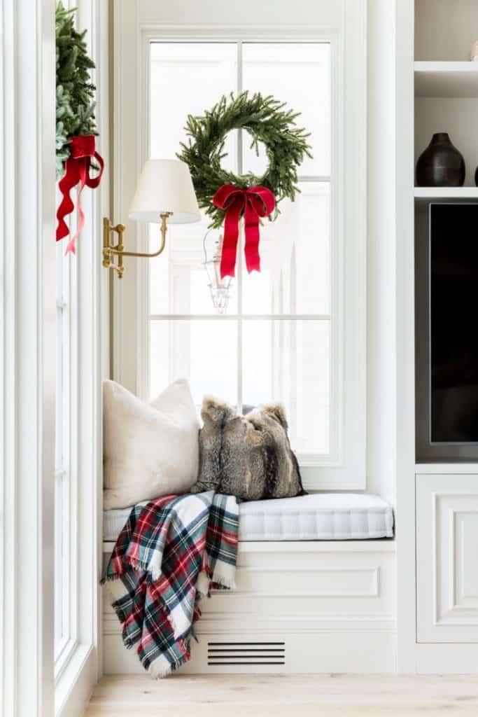 wreath on interior window
