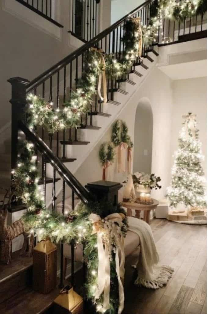 christmas garland on stairs inside
