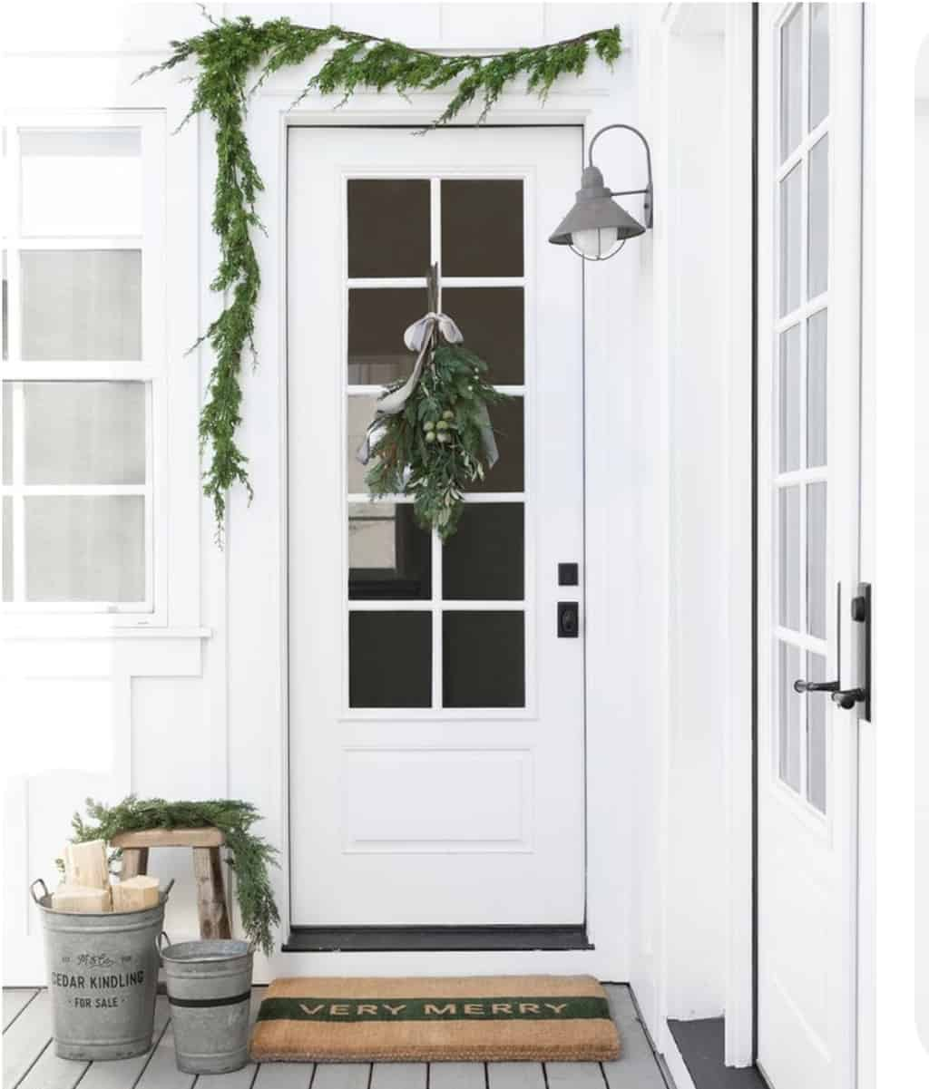 white porch Christmas decorations
