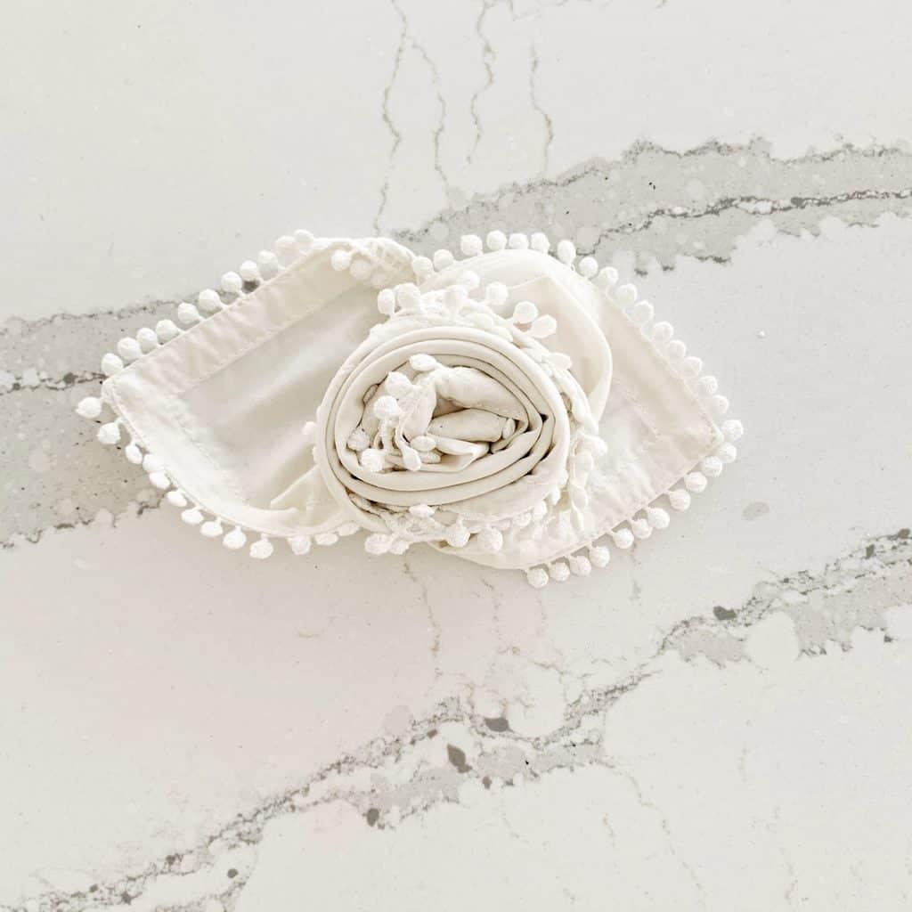 napkin rose fold completed
