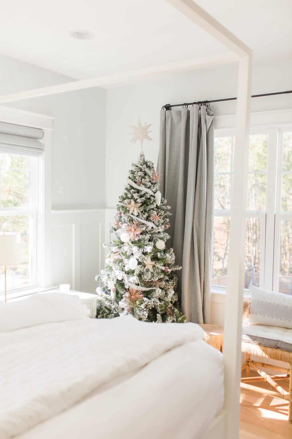 christmas tree in a bedroom