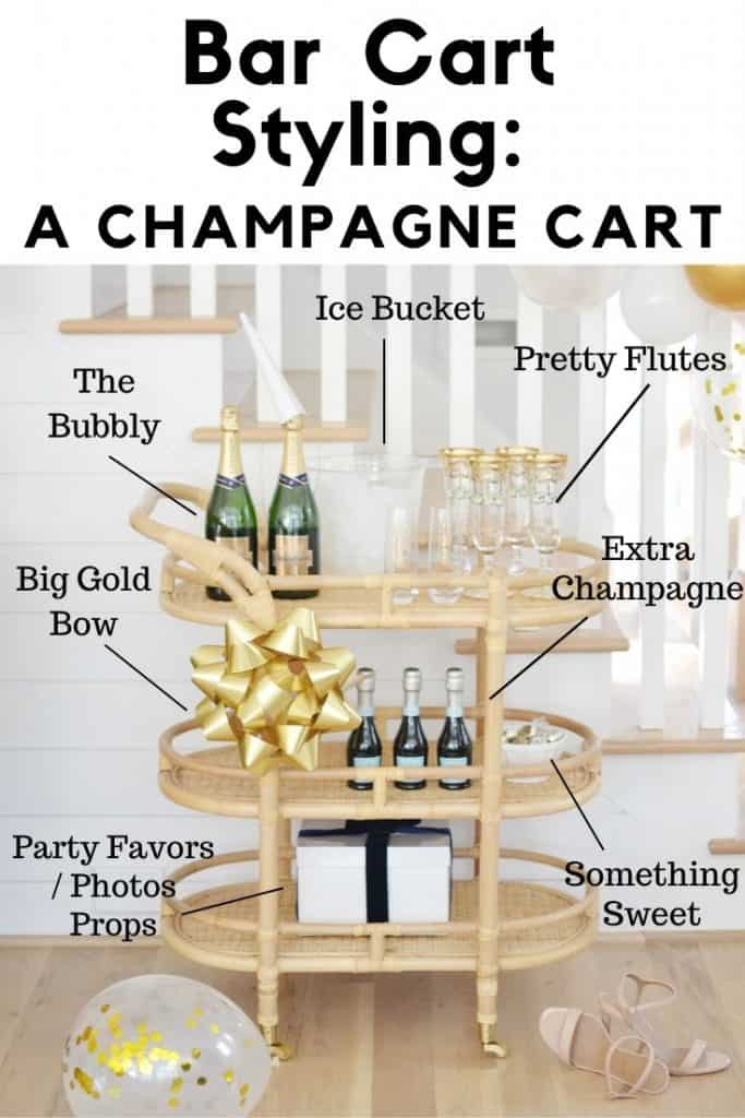 Pinterest image with text that reads bar cart styling for New Years eve