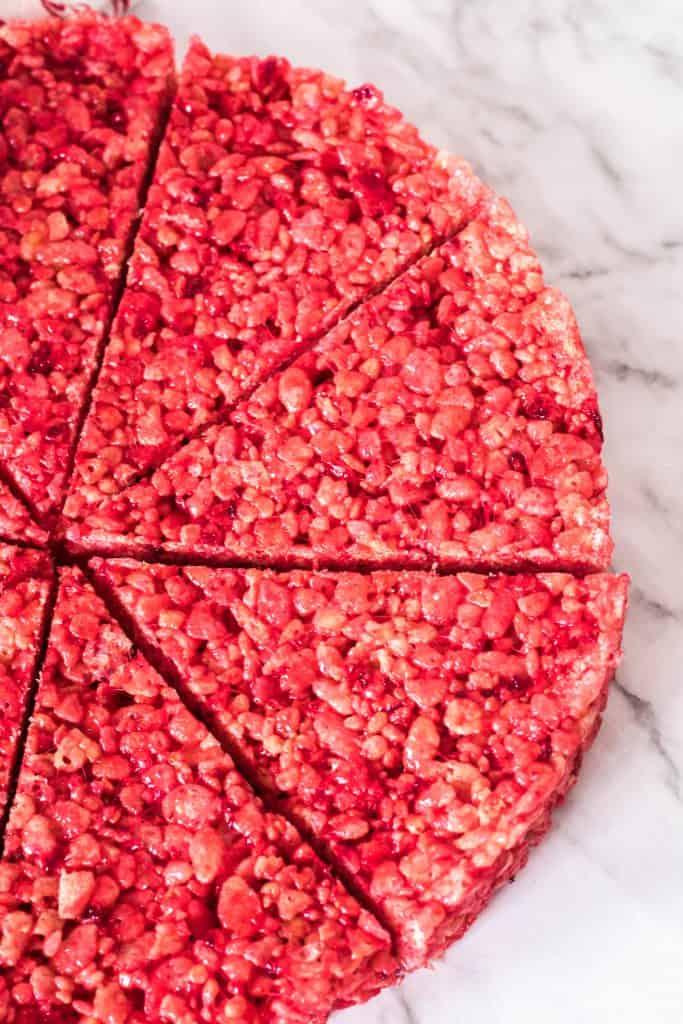 christmas Rice Krispie treats being cut