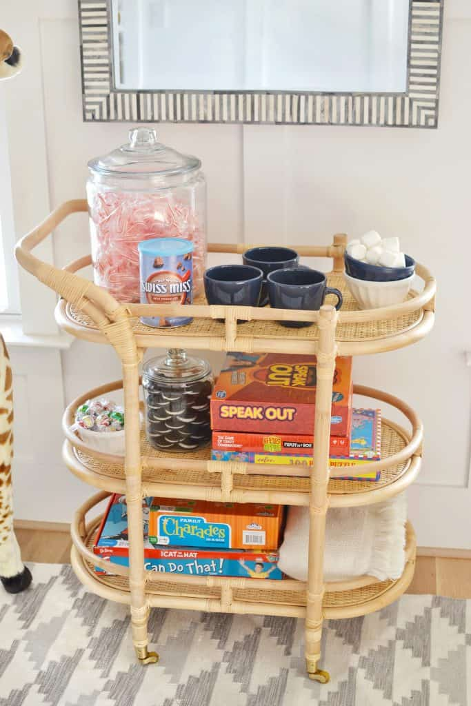 bar cart styled with kids treats