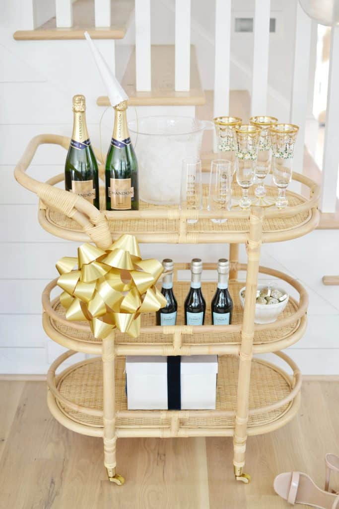 up close of bar cart styling for New Years eve
