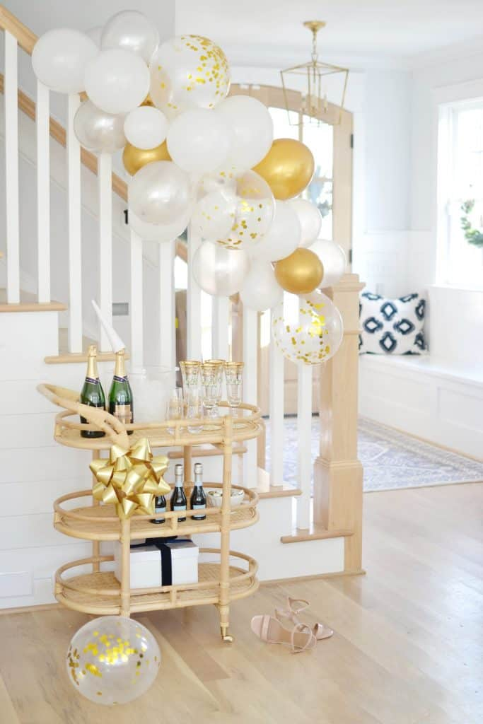 bar cart styling with champagne