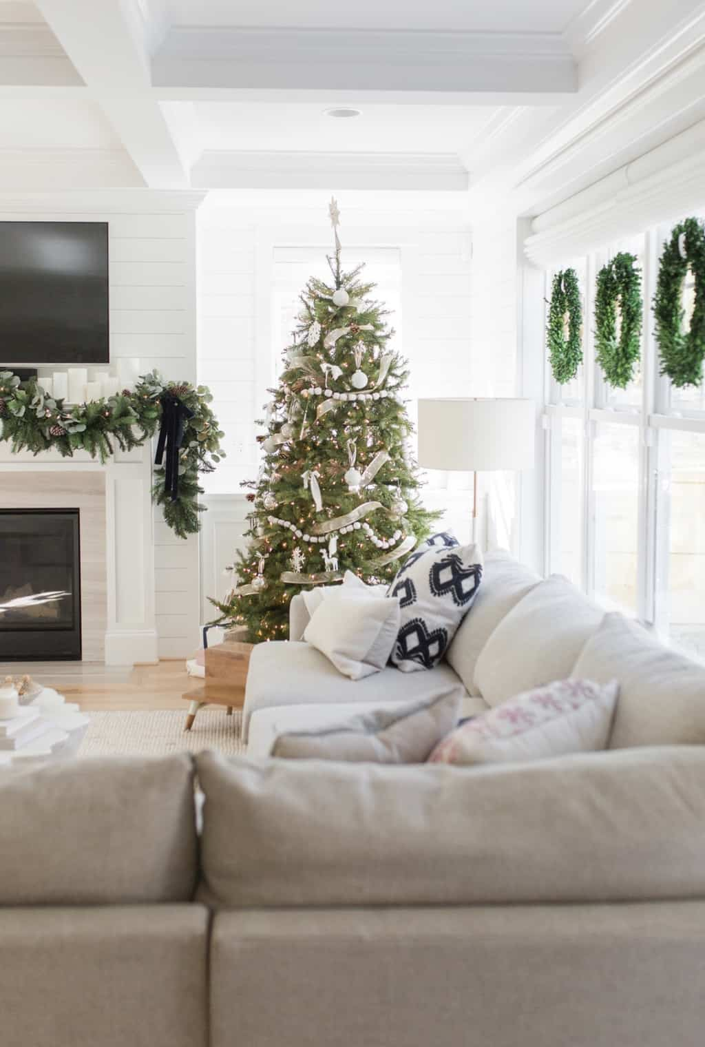 christmas home tour with wreaths on window