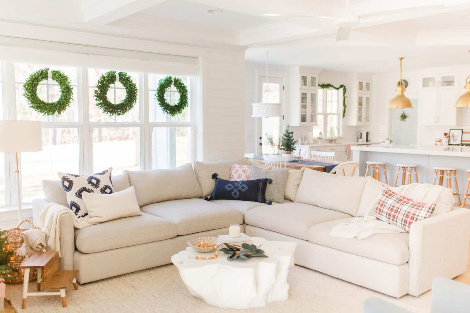 christmas home tour sectional with christmas pillows