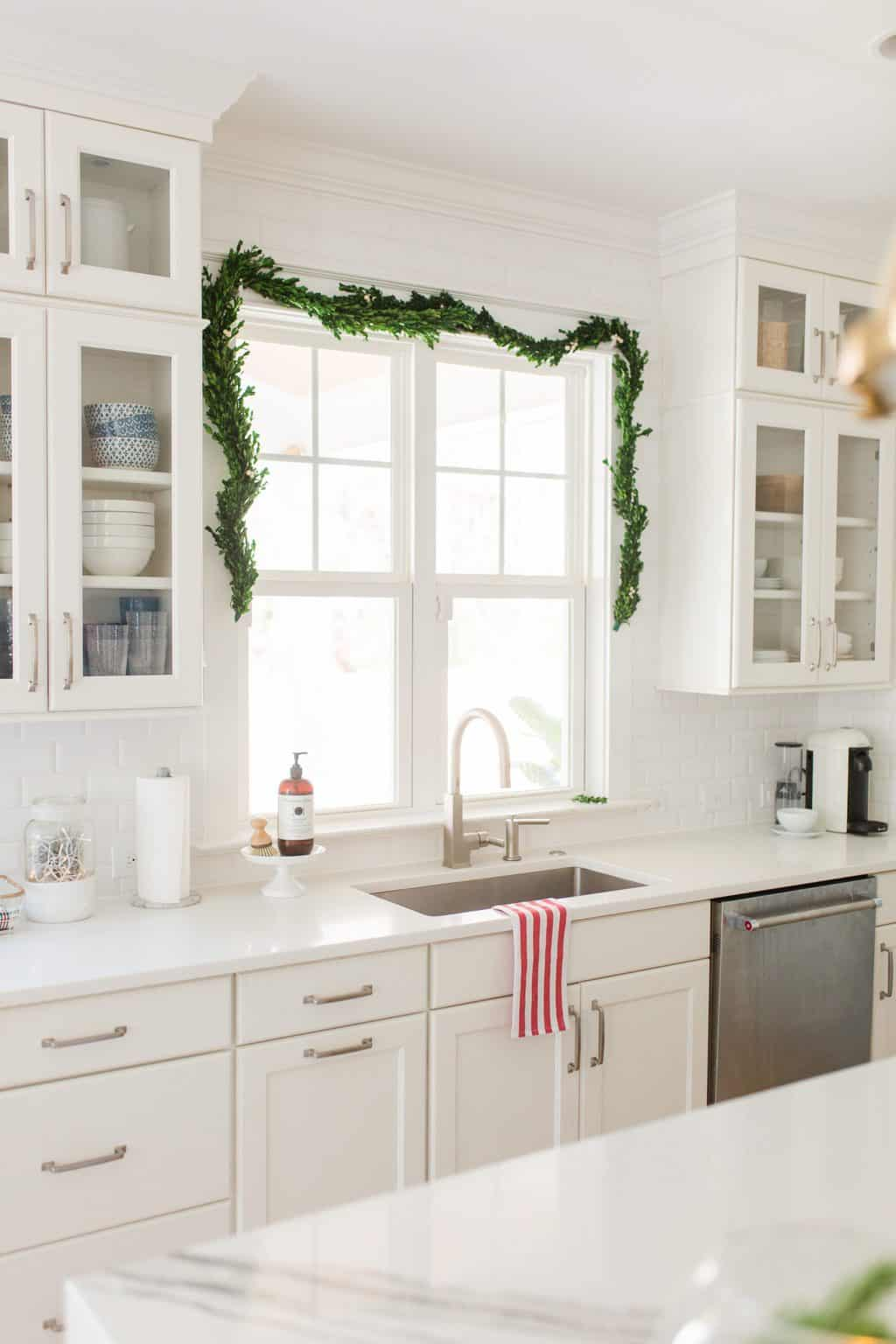 kitchen garland christmas decor over a sink