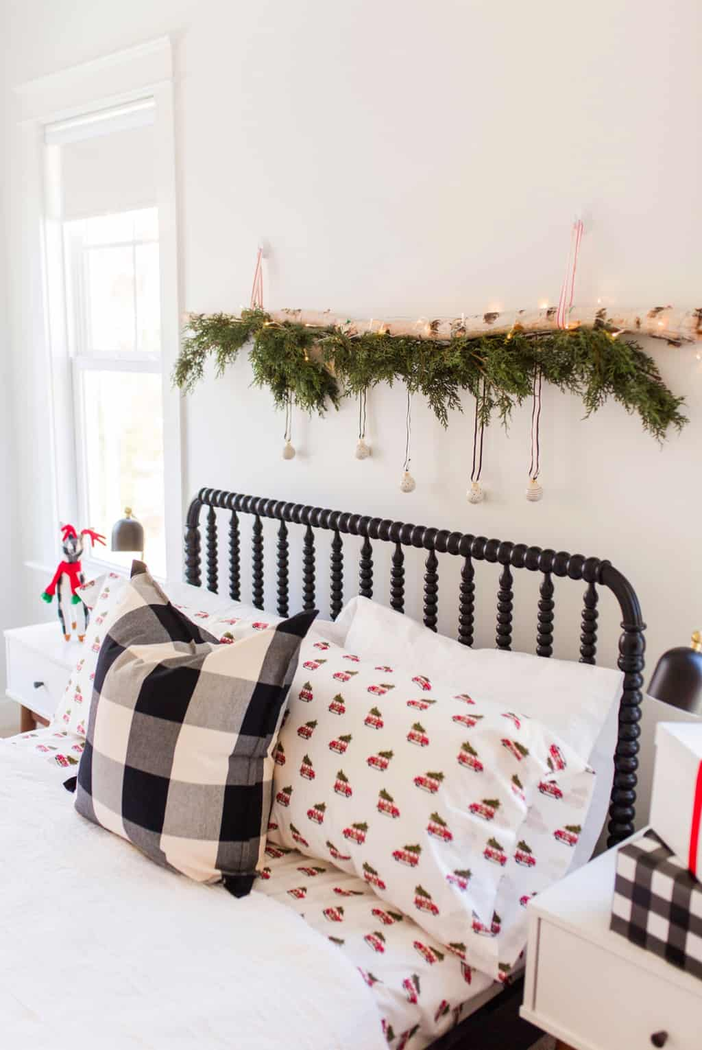 birch log wall hanging for christmas bedroom decor
