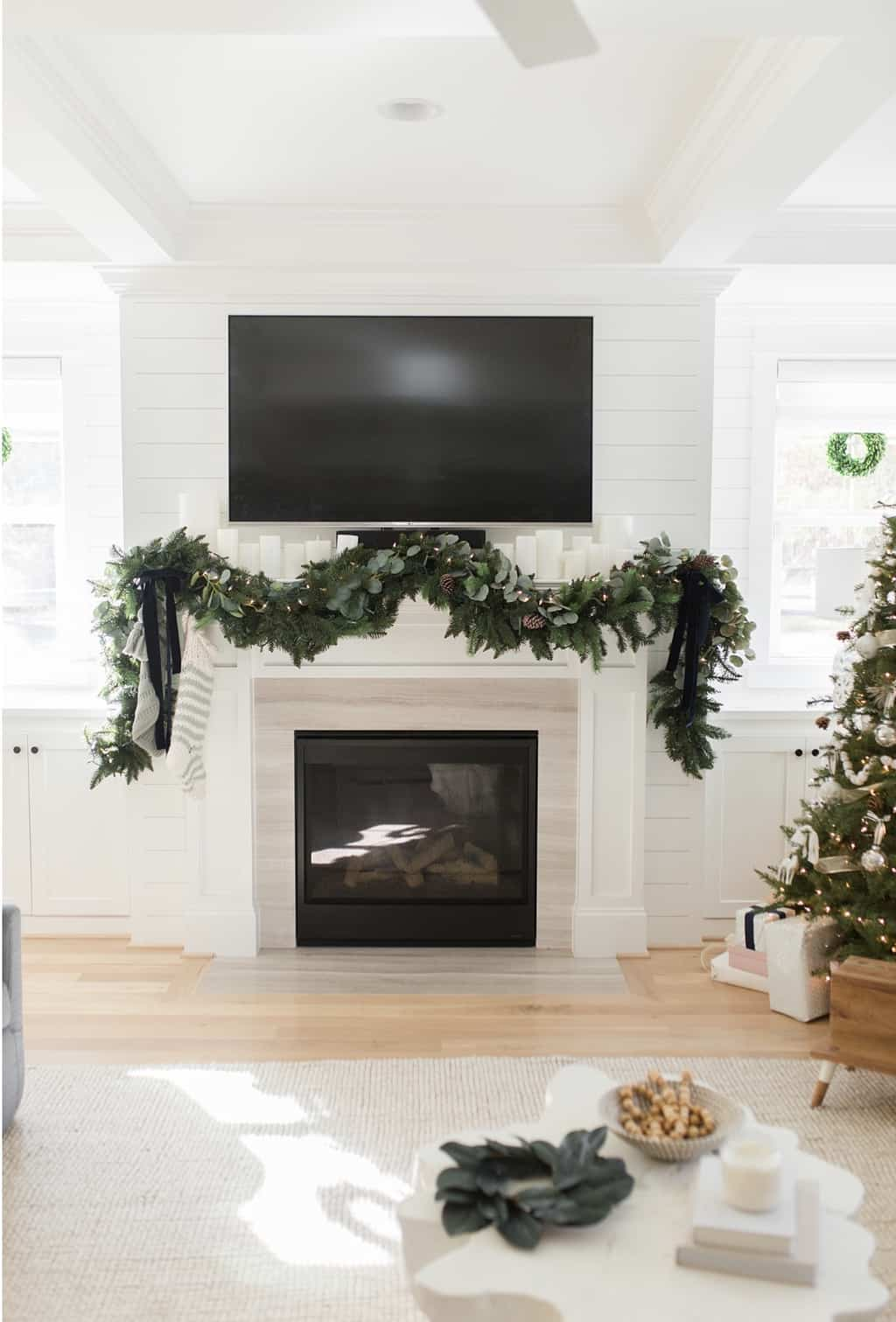 christmas home tour garland above fireplace