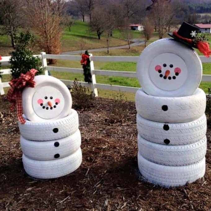 snowmen out of tires