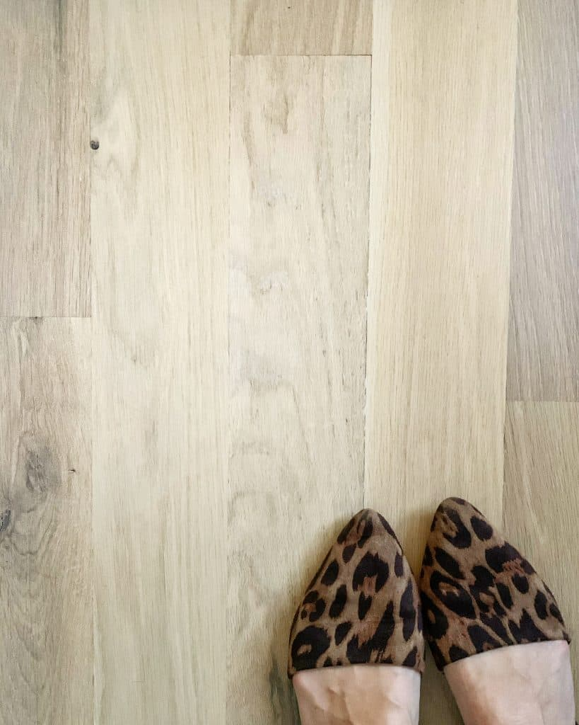 white oak hardwoods with leopard print shoes