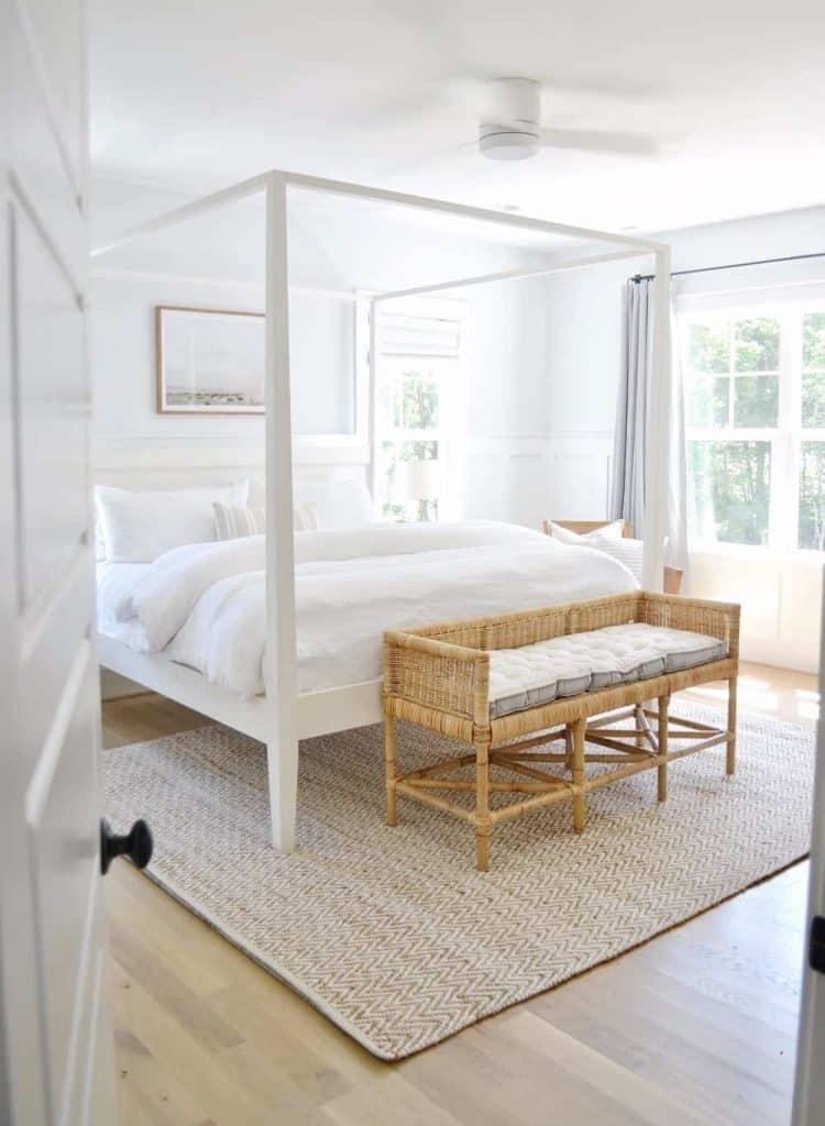 bedroom with white oak hardwood floors