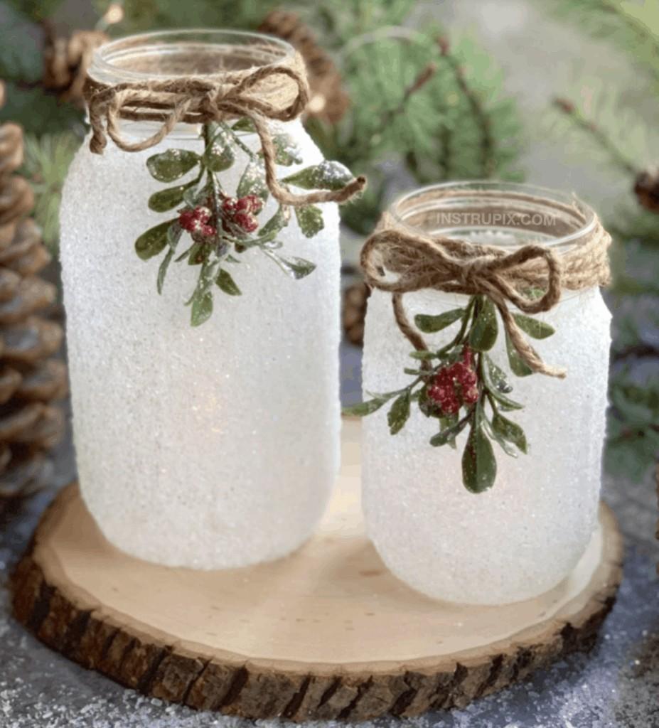 mason jar with snow on it
