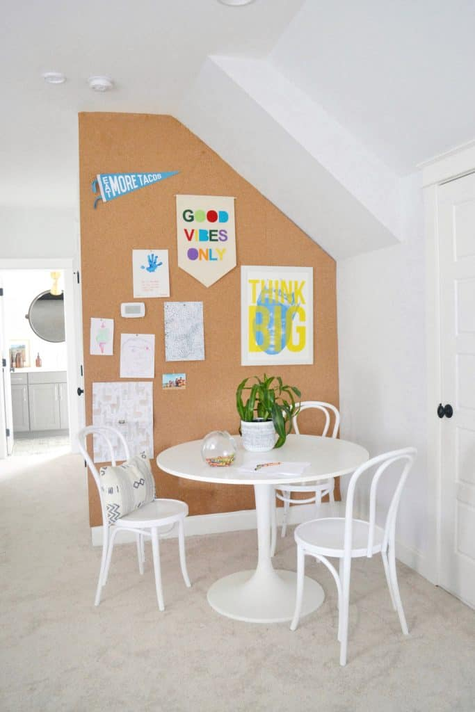 Large cork board wall in a kids area